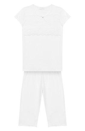 Пижама из хлопка с кружевной отделкой | Фото №1
