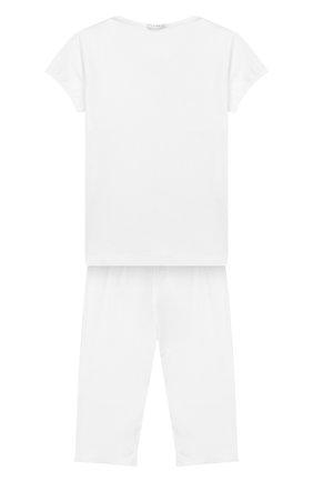 Детская пижама из хлопка с кружевной отделкой LA PERLA белого цвета, арт. 51721/2-6 | Фото 2