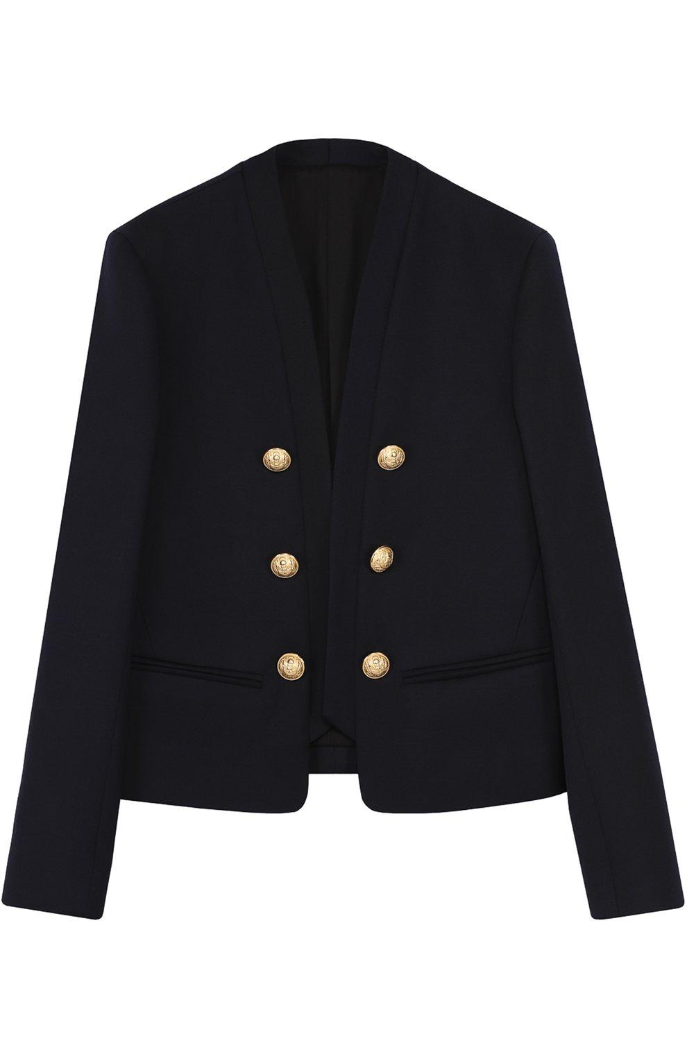 Пиджак из шерсти с декорированными пуговицами   Фото №1