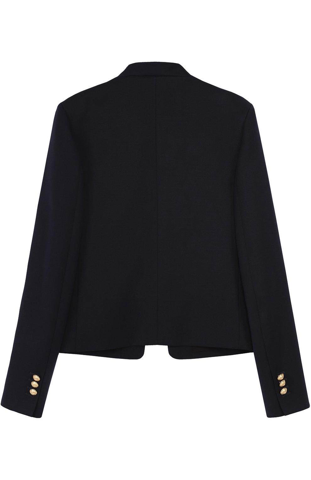 Пиджак из шерсти с декорированными пуговицами   Фото №2