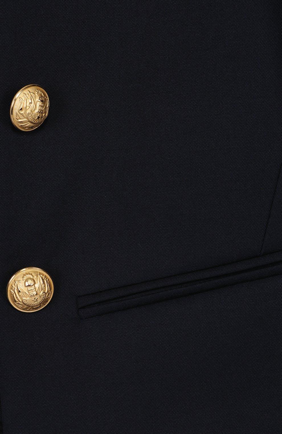 Пиджак из шерсти с декорированными пуговицами   Фото №3