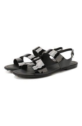 Женские кожаные сандалии TOD'S черного цвета, арт. XXW00V0T6800W0 | Фото 1