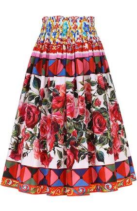 Юбка-миди с ярким принтом и завышенной талией Dolce & Gabbana разноцветная | Фото №1