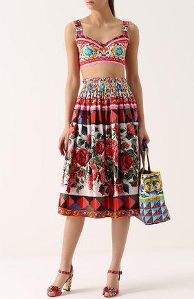 Юбка-миди с ярким принтом и завышенной талией Dolce & Gabbana разноцветная | Фото №2