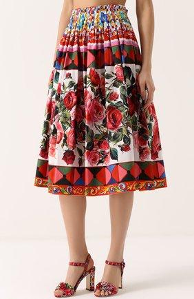 Юбка-миди с ярким принтом и завышенной талией Dolce & Gabbana разноцветная | Фото №3