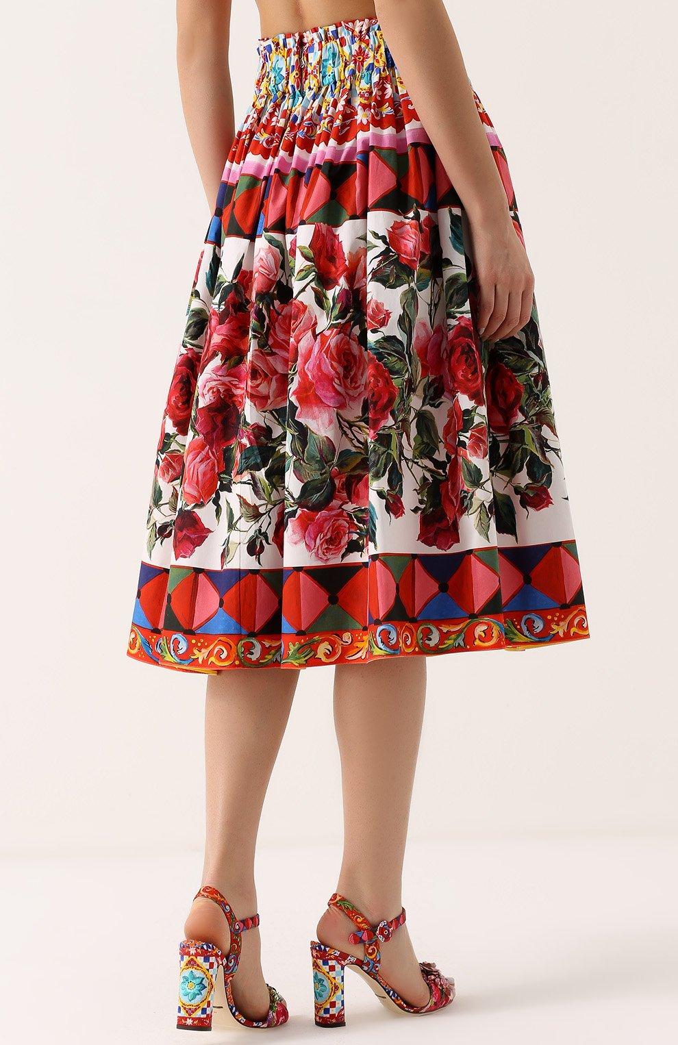 Юбка-миди с ярким принтом и завышенной талией Dolce & Gabbana разноцветная | Фото №4
