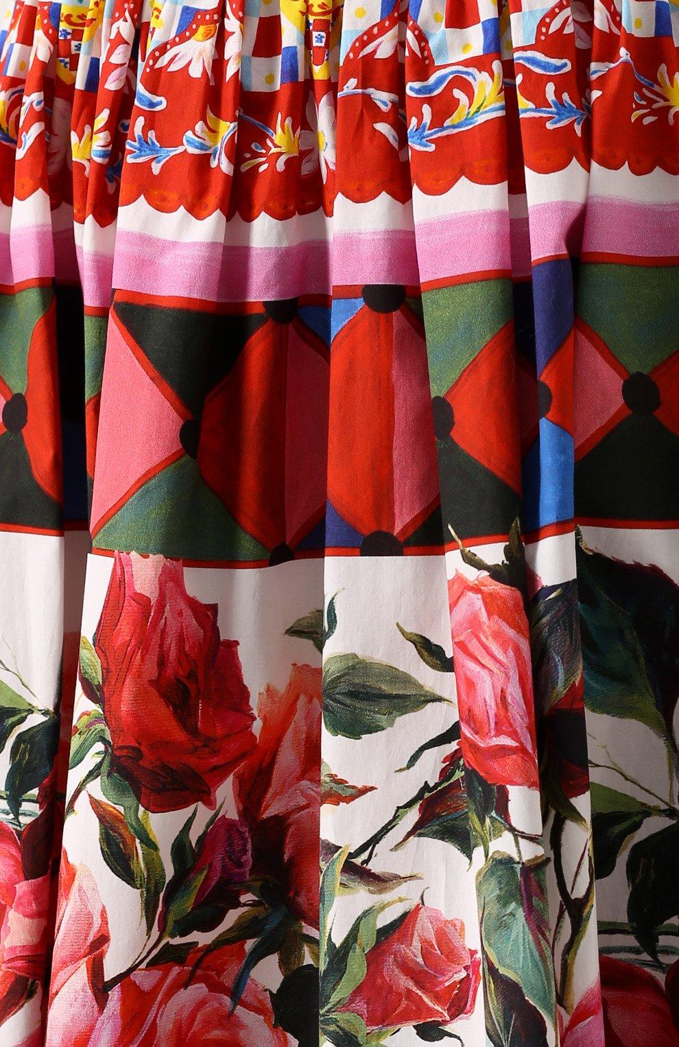 Юбка-миди с ярким принтом и завышенной талией Dolce & Gabbana разноцветная | Фото №5