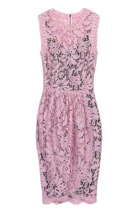 Кружевное мини-платье с драпировкой Dolce & Gabbana розовое | Фото №1