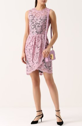 Кружевное мини-платье с драпировкой Dolce & Gabbana розовое | Фото №2