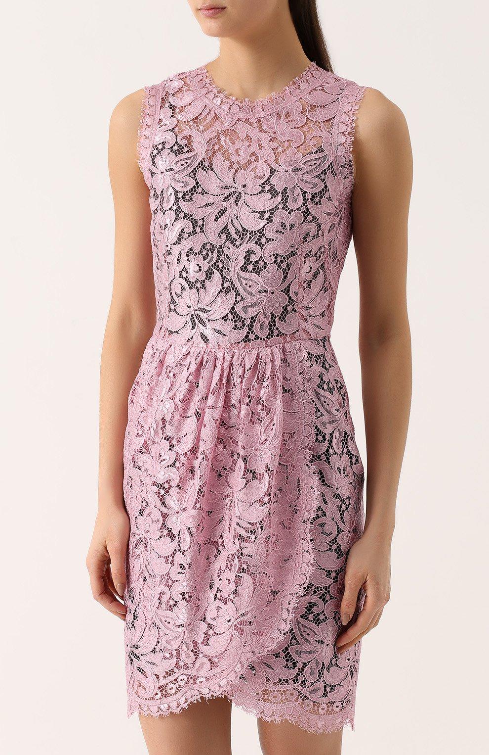 Кружевное мини-платье с драпировкой Dolce & Gabbana розовое | Фото №3