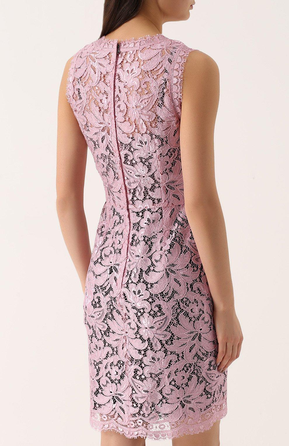 Кружевное мини-платье с драпировкой Dolce & Gabbana розовое | Фото №4