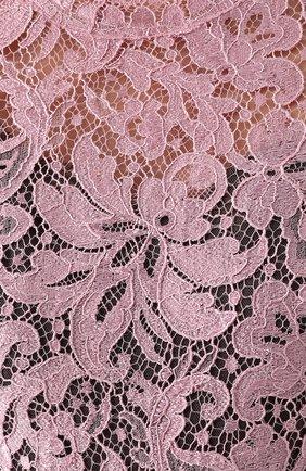 Кружевное мини-платье с драпировкой Dolce & Gabbana розовое | Фото №5