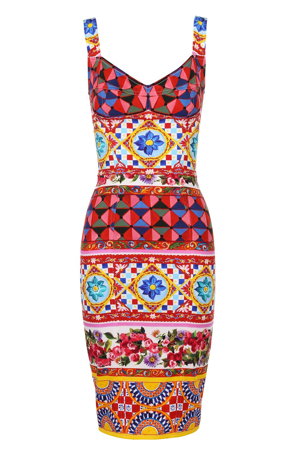 Платье-футляр на бретельках с ярким принтом | Фото №1