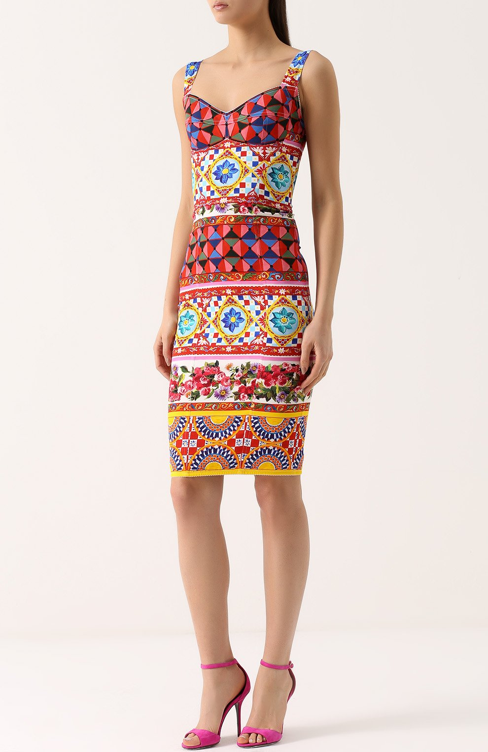 Платье-футляр на бретельках с ярким принтом Dolce & Gabbana разноцветное | Фото №3