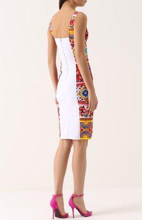 Платье-футляр на бретельках с ярким принтом Dolce & Gabbana разноцветное | Фото №4