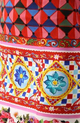 Платье-футляр на бретельках с ярким принтом Dolce & Gabbana разноцветное | Фото №5