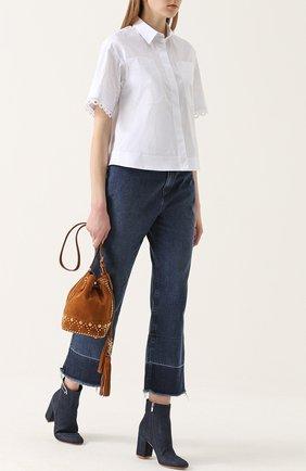 Укороченные расклешенные джинсы с бахромой Rachel Comey синие | Фото №1