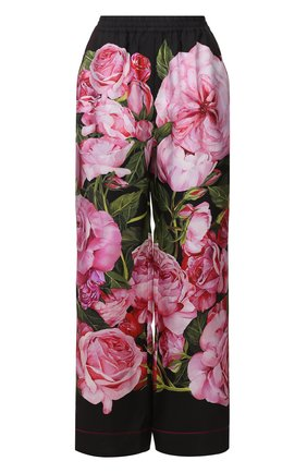 Шелковые брюки в пижамном стиле с цветочным принтом Dolce & Gabbana розовые | Фото №1