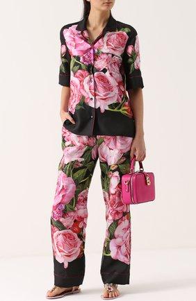 Шелковые брюки в пижамном стиле с цветочным принтом Dolce & Gabbana розовые | Фото №2