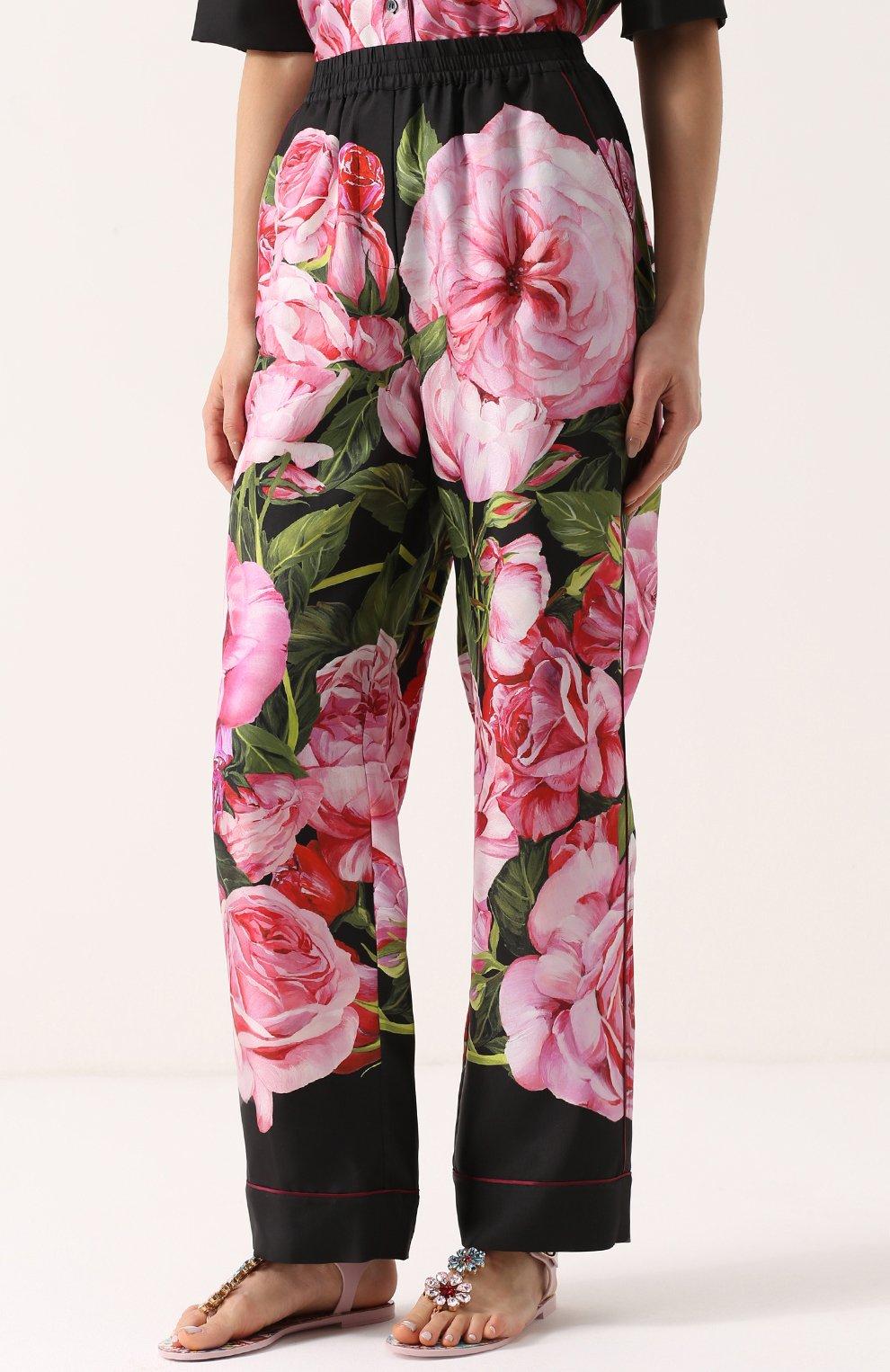 Шелковые брюки в пижамном стиле с цветочным принтом Dolce & Gabbana розовые | Фото №3