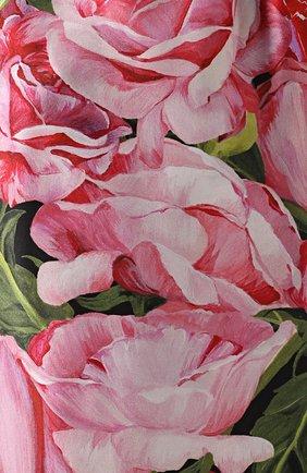 Шелковые брюки в пижамном стиле с цветочным принтом Dolce & Gabbana розовые | Фото №5