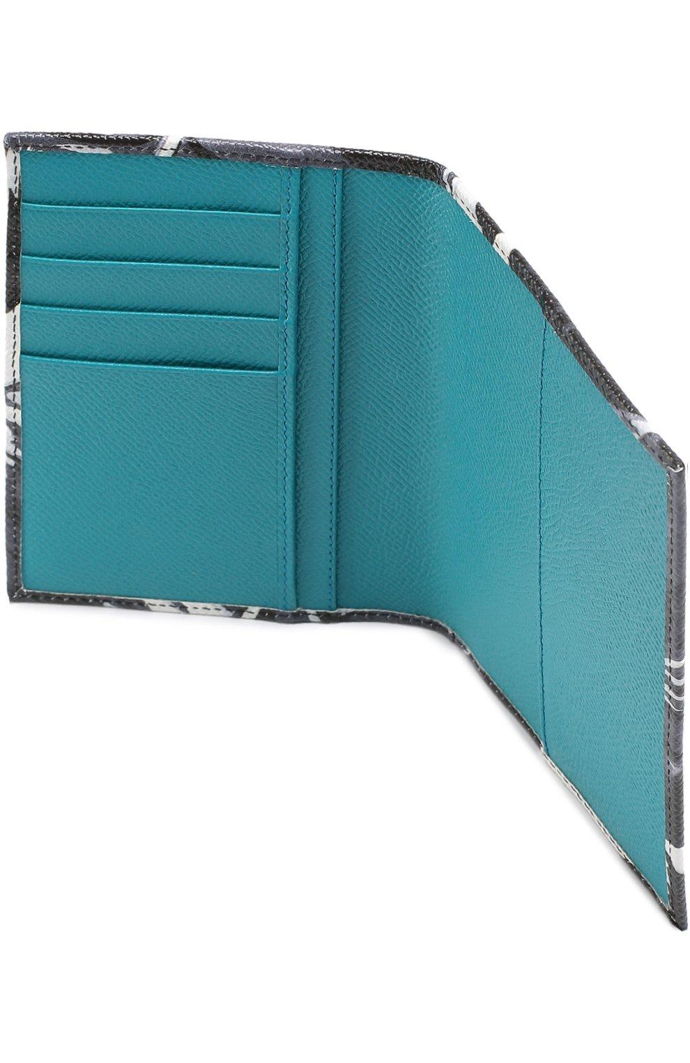 Кожаная обложка для паспорта с отделениями для кредитных карт Dolce & Gabbana темно-синего цвета | Фото №3