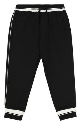 Спортивные брюки с контрастной отделкой Dolce & Gabbana черного цвета | Фото №1