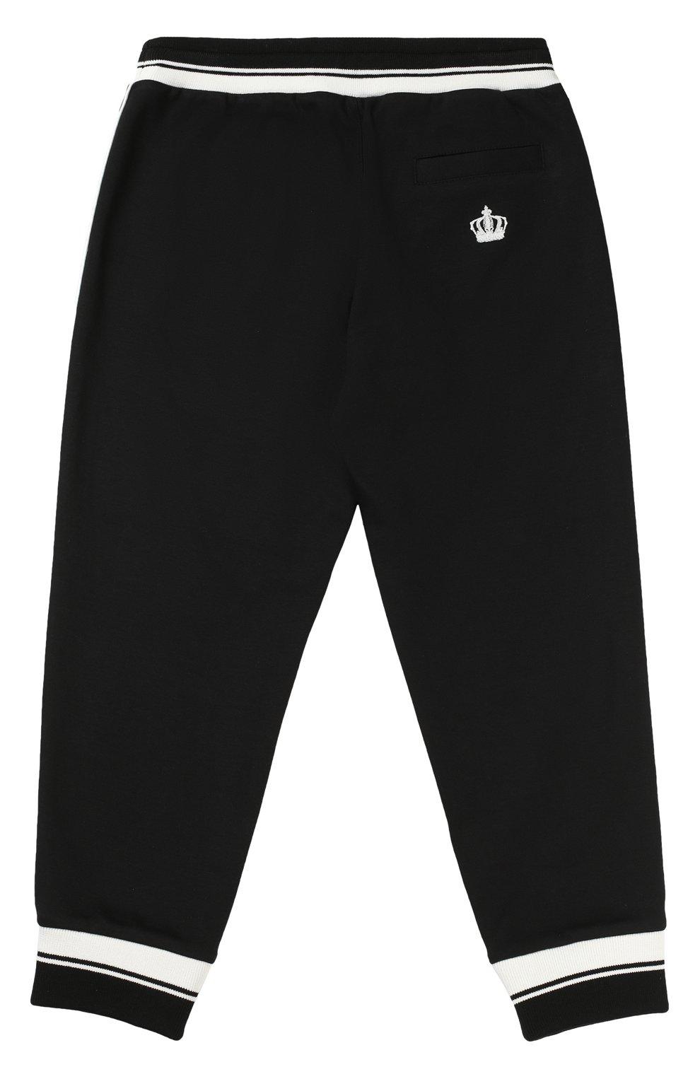 Спортивные брюки с контрастной отделкой Dolce & Gabbana черного цвета | Фото №2