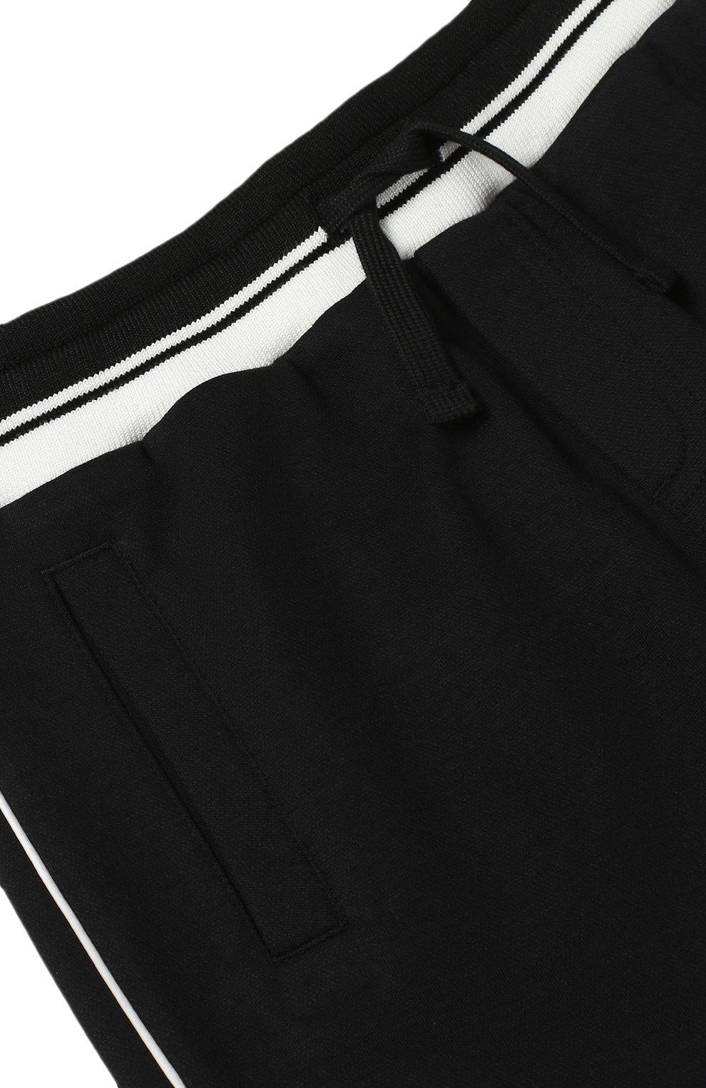 Спортивные брюки с контрастной отделкой Dolce & Gabbana черного цвета | Фото №3