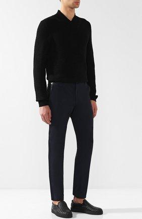 Мужские кожаные слипоны с плетением intrecciato BOTTEGA VENETA черного цвета, арт. 190809/V0013 | Фото 2