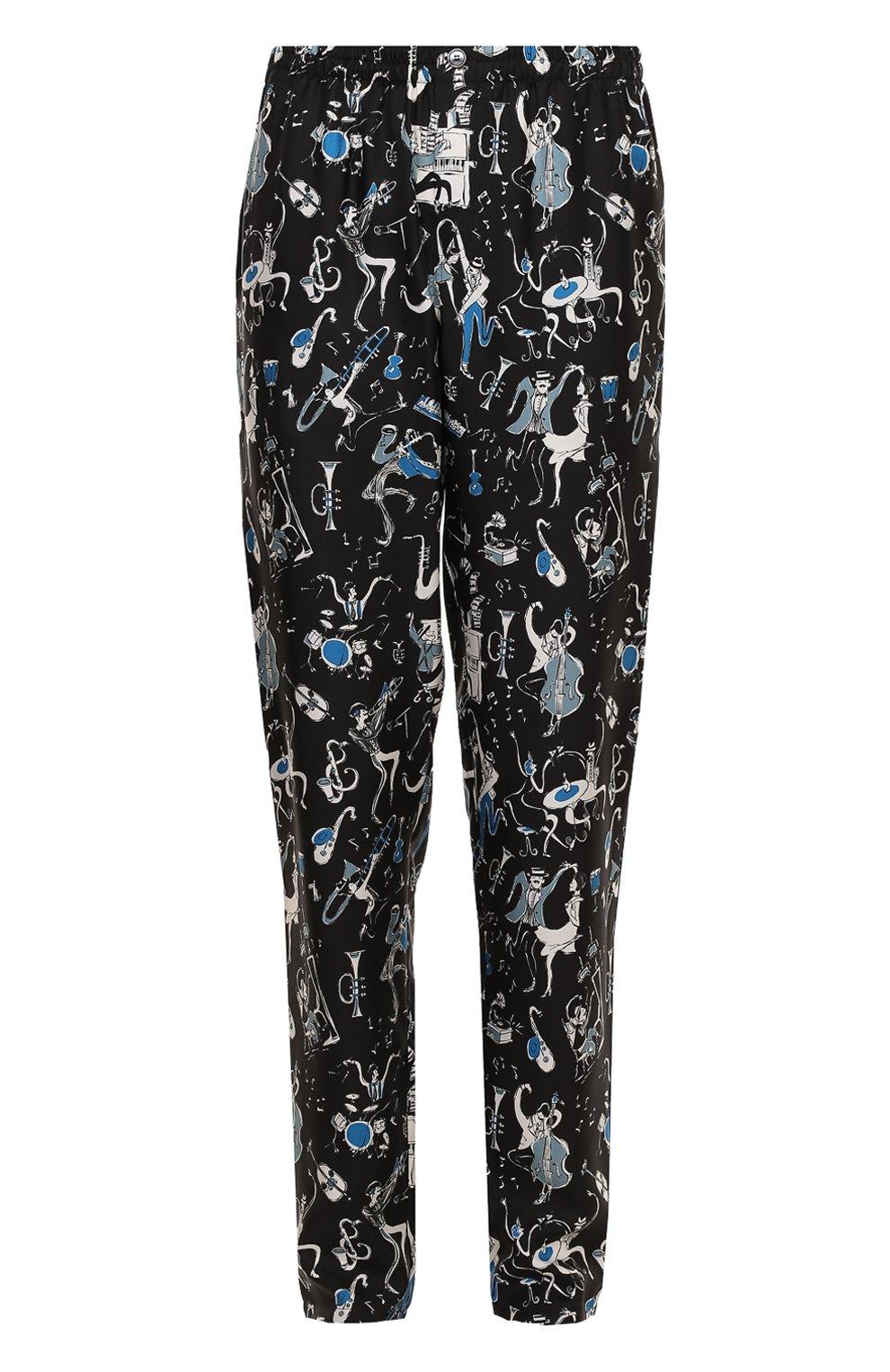 Шелковые домашние брюки с принтом | Фото №1
