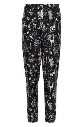 Шелковые домашние брюки с принтом Dolce & Gabbana синие | Фото №1