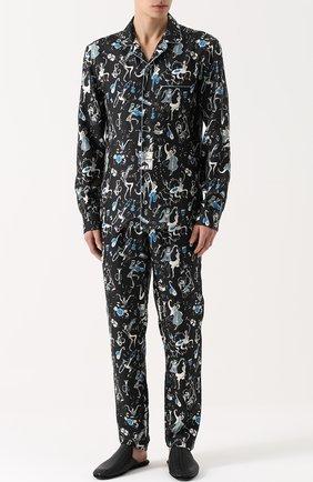Шелковые домашние брюки с принтом Dolce & Gabbana синие | Фото №2