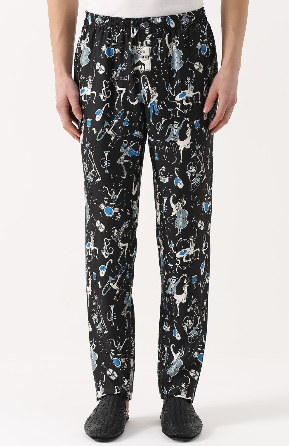 Шелковые домашние брюки с принтом Dolce & Gabbana синие | Фото №3