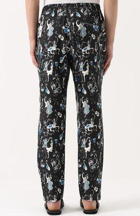 Шелковые домашние брюки с принтом Dolce & Gabbana синие | Фото №4