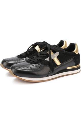 Кожаные кроссовки с контрастной отделкой и перфорацией Dolce & Gabbana черные   Фото №1