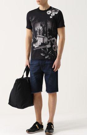Кожаные кроссовки с контрастной отделкой и перфорацией Dolce & Gabbana черные   Фото №2