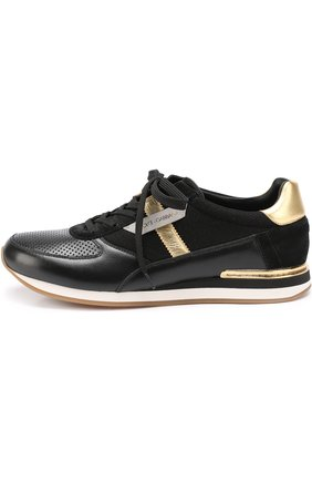 Кожаные кроссовки с контрастной отделкой и перфорацией Dolce & Gabbana черные   Фото №3