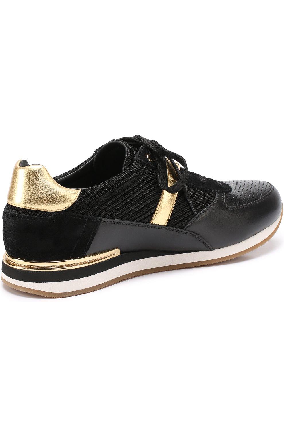 Кожаные кроссовки с контрастной отделкой и перфорацией Dolce & Gabbana черные   Фото №4