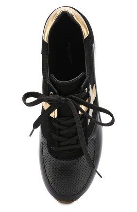Кожаные кроссовки с контрастной отделкой и перфорацией Dolce & Gabbana черные   Фото №5