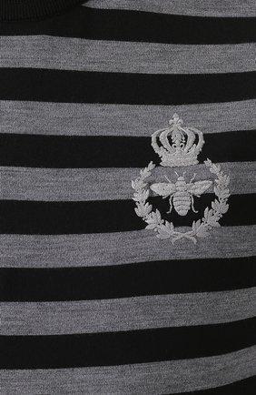 Джемпер из шерсти тонкой вязки в контрастную полоску   Фото №5