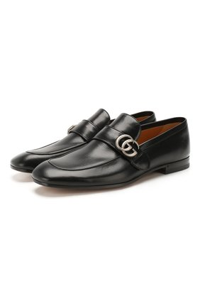 Мужские кожаные лоферы с перемычкой и пряжкой GUCCI черного цвета, арт. 450853/D3V00 | Фото 1