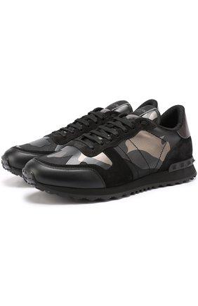 Комбинированные кроссовки Valentino Garavani Rockrunner с камуфляжным принтом | Фото №1