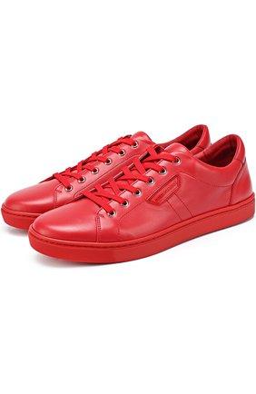 Кожаные кеды London на шнуровке Dolce & Gabbana красные   Фото №1