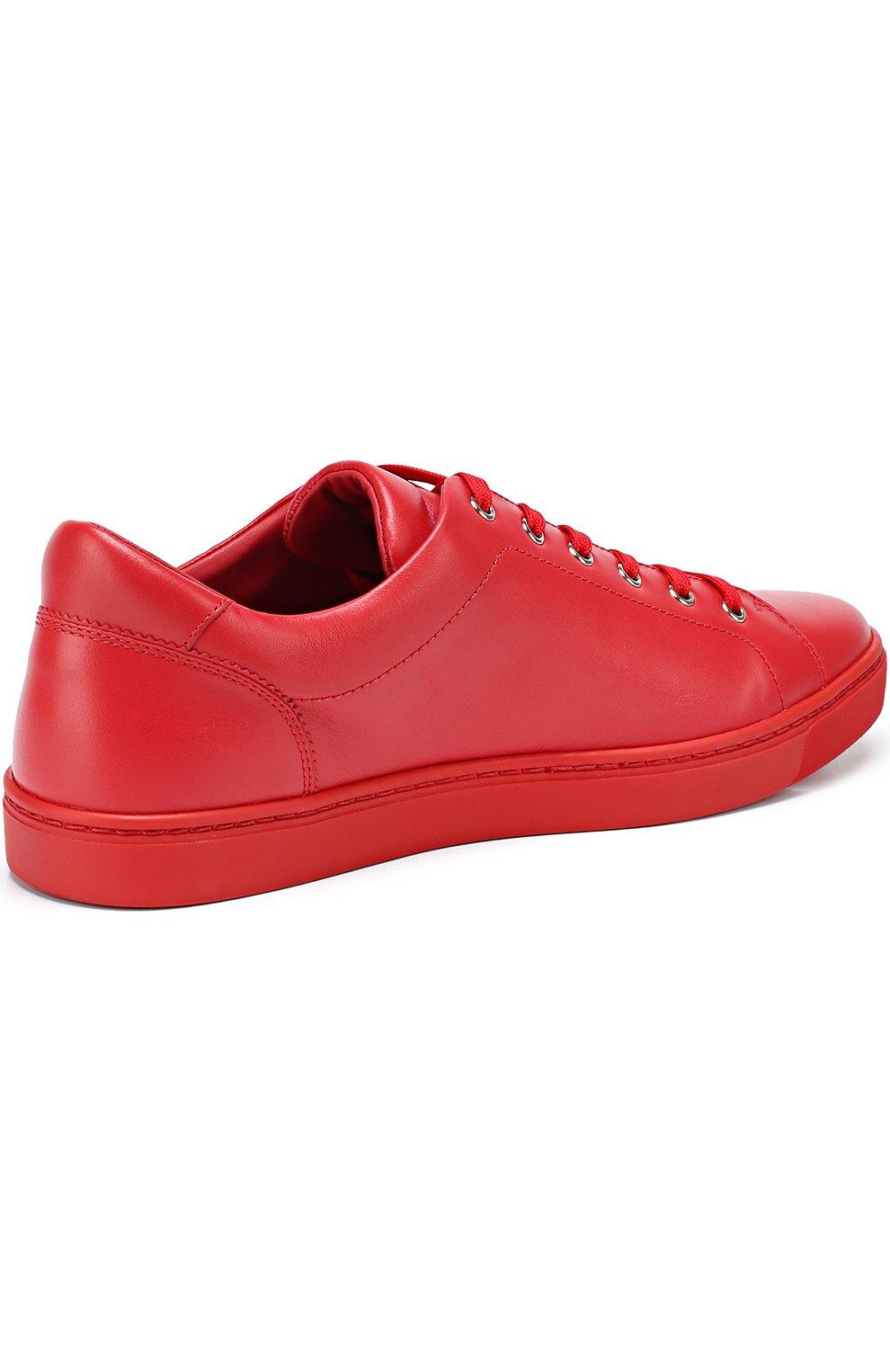 Кожаные кеды London на шнуровке Dolce & Gabbana красные   Фото №4