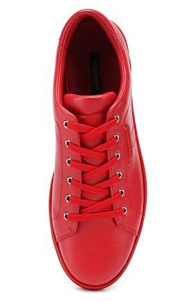 Кожаные кеды London на шнуровке Dolce & Gabbana красные   Фото №5