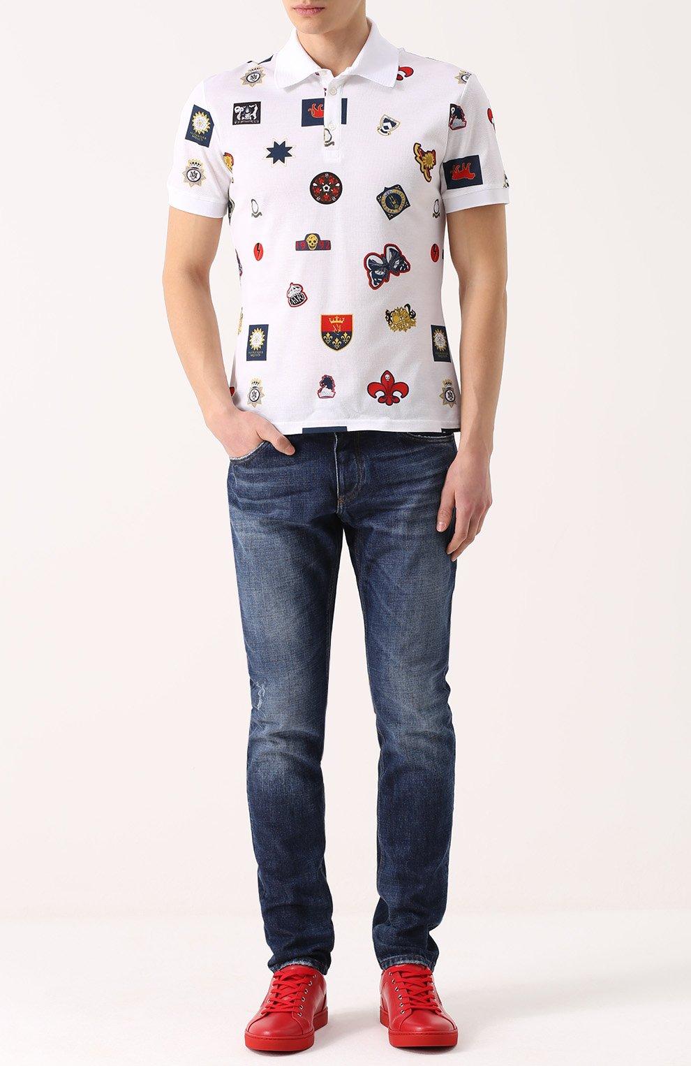 Джинсы прямого кроя с потертостями Dolce & Gabbana синие | Фото №2