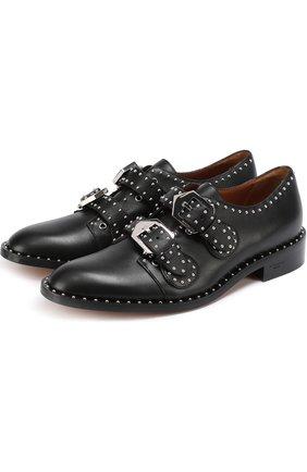 Кожаные ботинки с ремешками и заклепками | Фото №1