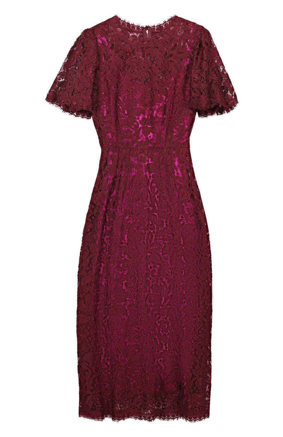 Кружевное приталенное платье с коротким рукавом | Фото №1