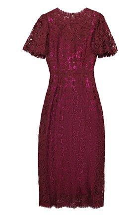 Кружевное приталенное платье с коротким рукавом Dolce & Gabbana бордовое | Фото №1